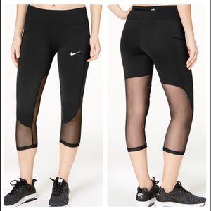 Nike Mesh Trimmed Cropped Running Leggings